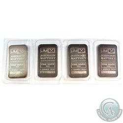 Strip of Sealed Johnson Matthey 1oz .999 Fine Silver Bars (Toned). 4pcs (TAX Exempt)