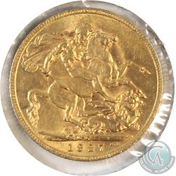 1927SA Great Britain Gold Sovereign AU-UNC. Contains 0.2354oz fine gold.