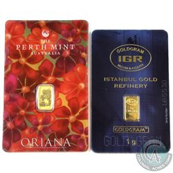 Perth Mint & Instanbul Gold Refinery 1 Gram .9999 Fine Gold Bars in Hard Plastic Cards. 2pcs (TAX Ex
