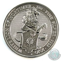2020 Great Britain 2oz Queen's Beasts - White Lion of Mortimer .9999 Fine Silver Coin (Back of coin