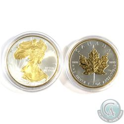 2010 USA 1oz Eagle & 2011 Canada 1oz Maple Fine Silver Gold Plated Coins in Capsules (Lightly toned)
