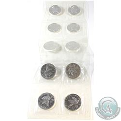 Sealed Plastic Strip of 2008 Canada Olympic .9999 Fine Silver Maple Leafs. 10pcs (TAX Exempt)