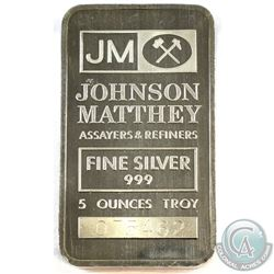5oz Johnson Matthey .999 Fine Silver Bar. (TAX Exempt)