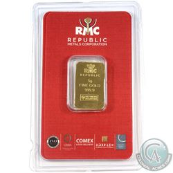 Republic Metals Corporation 5 Gram .9999 Fine Gold Bar in Hard Plastic Card. (TAX Exempt)