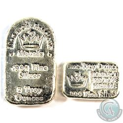 Monarch Precious Metals 1oz Bar & 2oz Tombstone Hand Poured .999 Fine Silver. 2pcs (TAX Exempt)