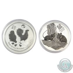 2017 Australia Year of the Rooster with Lion Privy & 2020 Year of the Mouse 1oz .9999 Fine Silver Co
