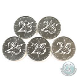 2013 Canada 25th Anniversary .9999 Fine Silver Maple Leafs. 5pcs (TAX Exempt)