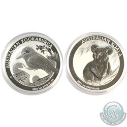 2019 Australia 1oz Kookaburra & Koala (Capsules are scratched, coins are fine). 2pcs (TAX Exempt)