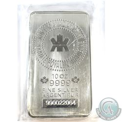 10oz Royal Canadian Mint .9999 Fine Silver Bar Sealed in Plastic. (TAX Exempt)