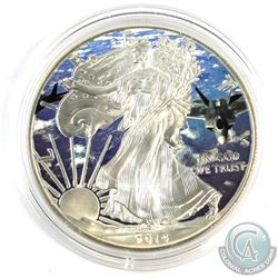 2014 USA 1oz 'Fighter Jet' Coloured 1oz .999 Fine Silver Eagle in Capsule. (TAX Exempt)
