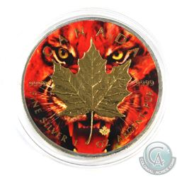 2017 Canada 1oz 'Tiger' Coloured and Gold Plated .9999 Fine Silver Maple Leaf in Capsule. (TAX Exemp