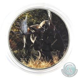 2014 Canada 1oz 'Moose' Coloured .9999 Fine Silver Maple Leaf in Capsule. (TAX Exempt)