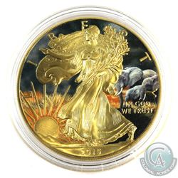 2015 USA 1oz 'Elephants' Coloured and Gold Plated .999 Fine Silver Eagle in Capsule. (TAX Exempt)