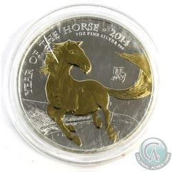 2014 Great Britain 1oz Year of the Horse Gold Plated .999 Fine Silver Coin in Capsule. (TAX Exempt)
