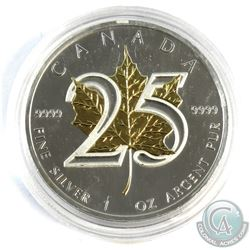 2013 Canada 1oz 25th Anniversary Gold Plated .9999 Fine Silver Maple Leaf in Capsule. (TAX Exempt)