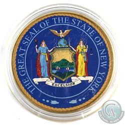 2017 USA 1oz 'The Great Seal of the State of New York' Coloured and Gold Plated .999 Fine Silver Eag