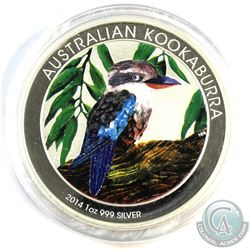 2014 Australia 1oz Coloured .999 Fine Silver Kookaburra in Capsule. (TAX Exempt)