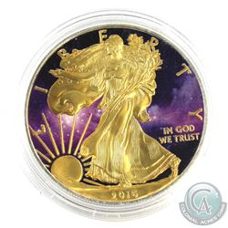 2016 USA 1oz 'Space' Coloured & Gold Plated .999 Fine Silver Eagle in Capsule. (TAX Exempt)
