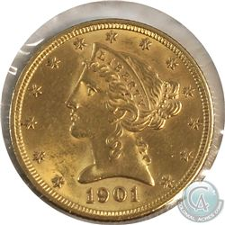 1901 USA Half Eagle Gold UNC+. Contains 0.242oz fine gold.