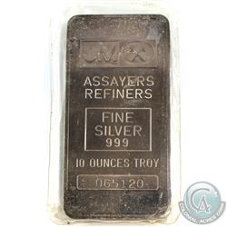 Rare!  10oz Johnson Matthey .999 Fine Silver Bar *BLANK REVERSE* 065120(Toned).(TAX Exempt)