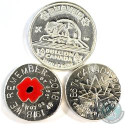 2x 1oz & 2oz Beaver Bullion .999 Fine Silver Rounds - 1918-2018 1oz 'We Remember' Coloured Poppy, 1o