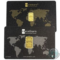 Karatbars International GmbH 1 Gram & 2.5 Gram .9999 Fine Gold Bar Plastic Cards. 2pcs (TAX Exempt)
