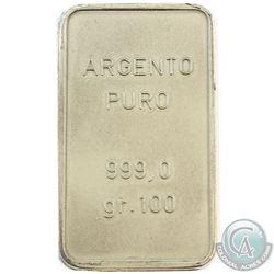 Gruppo Anziani 100 Gram .999 Fine Silver Bar. (TAX Exempt)