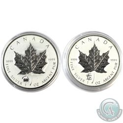 2012 Canada 1oz Titanic & Dragon Privy .9999 Fine Silver Maple Leafs in Capsules (Lightly toned). 2p