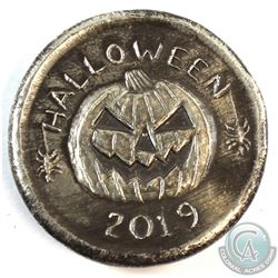 2019 Beaver Bullion Halloween Jack 'O Lantern 2oz. Antiqued .999 Fine Silver Round. (TAX Exempt)