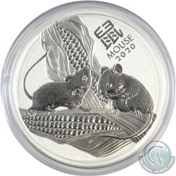 2020 Australia 5oz Year of the Mouse .9999 Fine Silver Coin (Capsule is scratched). (TAX Exempt)