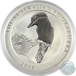 Scarce Year 2008 Australia 1oz .999 Fine Silver Kookaburra (Capsule is scratched, but coin is fine).