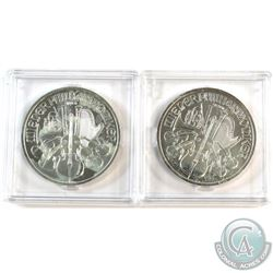 2012 & 2013 Austria 1oz .999 Fine Silver Philharmonics in Capsules (Coins are toned). 2pcs (TAX Exem