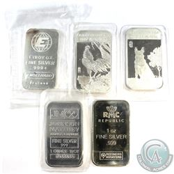 Lot of Different Mixed 1oz .999 Fine Silver Bars - Engelhard, Johnson Matthey, RMC, Year of the Roos