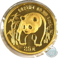 1986 China 25 Yuan 1/4oz .999 Fine Gold Proof Panda. (TAX Exempt)