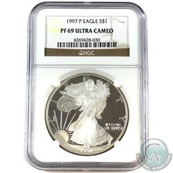 1997 P USA 1oz .999 Fine Silver Eagle NGC Certified PF-69 Ultra Cameo. (TAX Exempt)