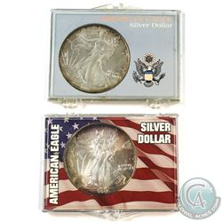 1991 & 2000 USA 1oz .999 Fine Silver Eagles in Hard Plastic Holders (Coins are toned). 2pcs (TAX Exe