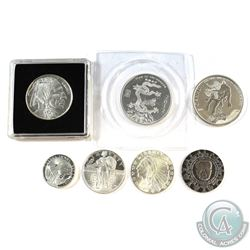 Group Lot of Different Mixed 1/2oz & 1/4oz Fine Silver Rounds - 3x 1/2oz & 4x 1/4oz (Coins may be to