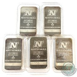 National Refiners Assayers 1oz .999 Fine Silver Bars in Sealed Plastic (Toned). 5pcs (TAX Exempt)