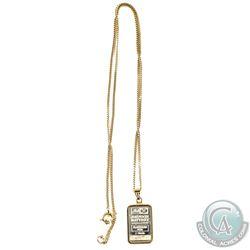 Johnson Matthey 1 Gram .9995 Platinum Bar Inside of 14K Gold Bezel with 14K Gold Chain. Total gold w