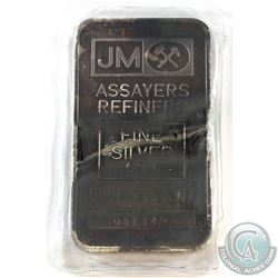 Johnson Matthey 5oz .999 Fine Silver Bar in Sealed Plastic *Blank Reverse* (Toned). (TAX Exempt)