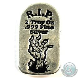 SCARCE Monarch Precious Metals 2oz R.I.P. Zombie Hand Tombstone .999 Fine Silver. (TAX Exempt)