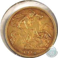 1914 Great Britain 1/2 Sovereign VF-EF (Scratched).