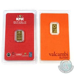 Valcambi Suisse & Republic Metals 1 Gram .9999 Fine Gold Bars in Hard Plastic Cards. 2pcs (TAX Exemp
