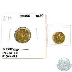 2011 Canada 1/10oz & 1/20oz .9999 Fine Gold Maple Leafs. 2pcs (TAX Exempt)