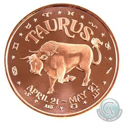10x Taurus & 10x Aries 1oz .999 Fine Copper Rounds in Plastic Tube. 20pcs
