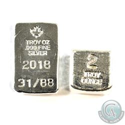 1oz Masterson Poured Bar & 2oz Yeagers Poured Silver Cube .999 Fine Silver Pieces. 2pcs (TAX Exempt)