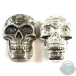 Beaver Bullion 5oz .999 Fine Silver Skulls - Regular & Antiqued Versions. 2pcs (TAX Exempt)