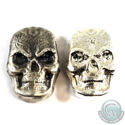 Beaver Bullion 1oz .999 Fine Silver Skulls - Regular & Antiqued Versions. 2pcs (TAX Exempt)