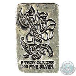 Monarch Precious Metals 5oz Viking .999 Fine Silver Poured Bar. (TAX Exempt)