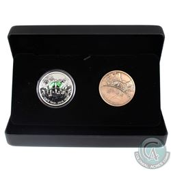 2018 Canada $30 Canadian National Institute for the Blind Fine Silver & Bronze 2-coin Set. (TAX Exem